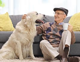 senior with dog
