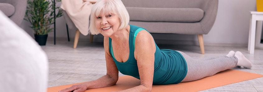 Senior citizen doing yoga