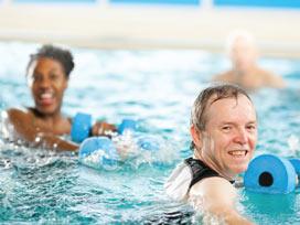 Two seniors doing aqua therapy